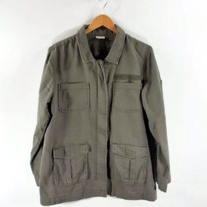 ABOUND Womens Military Jacket Green Zip Up